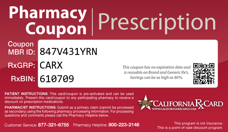 California Rx Card - Free Prescription Drug Coupon Card